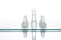 Surrounded king chess, business strategy, transparent glass Ches Stock Photography