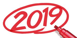 2019 surrounded with a red marker stock illustration