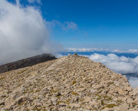 Surrounded by a sea of clouds at the top of the mountain. Surrounded by a sea of clouds at the top stock image