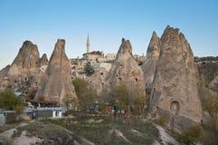 Surroundigs of Uchisar Castle. Surroundings of Uchisar Castle in Cappadocia in the autumn evening Stock Photo
