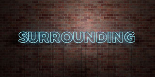 SURROUNDING - fluorescent Neon tube Sign on brickwork - Front view - 3D rendered royalty free stock picture. Can be used for online banner ads and direct Stock Image