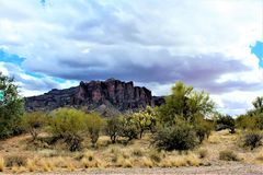 Superstition Mountains Wilderness Area Phoenix Arizona. Surrounding landscape of Superstition Mountains federally designated wilderness area outside of Phoenix Royalty Free Stock Photography