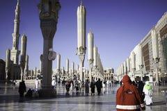 Surrounding of Mosque of Prophet. Medina, Saudi Arabia - December 15, 2016 ; People, Hotel, Buildings surrounding  of Mosque of Prophet Royalty Free Stock Photos