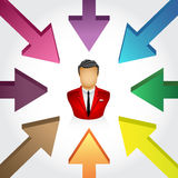 Surrounding to one target. Vector illustration of  some Arrows Surrounding To one Target Stock Photography