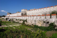 Surrounding wall of ancient city Constantinople. Istanbul, Turkey royalty free stock image