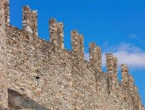 Surrounding wall of the Castelgrande fortress in Bellinzona, Swi stock image