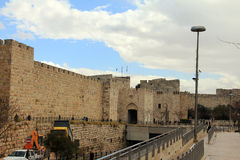 Surrounding wall of the old city of Jerusalem Royalty Free Stock Image