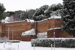 Surrounding walls of Rome under snow Stock Photos