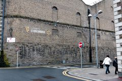 Surroundings of Guinness Storehouse, the brewery experience telling the tale of Ireland`s famous beer on St James`s Gate. April 12th, 2018, Dublin, Ireland Stock Images
