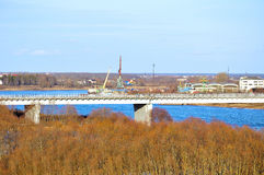 Surroundings of Veliky Novgorod, Russia, water area of Volkhov river Royalty Free Stock Photography