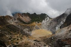 Surroundings of the volcano Sibayak on the island of Sumatra in Indonesia stock images