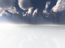 Surrreal white reflective landscape city Royalty Free Stock Photo