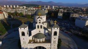 Surrvideo - domkyrka av uppståndelsen av Kristus, Podgorica, Montenegro lager videofilmer