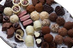 Surtido apetitoso de los caramelos de chocolate, primer Imagenes de archivo