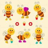 Surtido de abejas divertidas Foto de archivo libre de regalías
