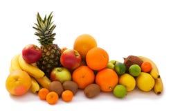 Surtido de frutas exóticas aisladas en blanco Imagen de archivo libre de regalías