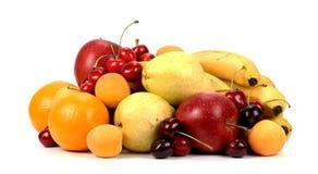 Surtido de frutas exóticas aisladas en blanco Fotografía de archivo