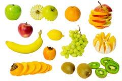 Surtido de frutas exóticas aisladas en blanco Fotos de archivo libres de regalías