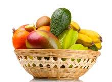 Surtido de frutas exóticas en cesta Imágenes de archivo libres de regalías