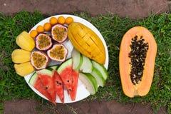 Surtido de frutas tropicales cortadas encendido en un fondo de la hierba verde Foto de archivo