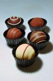 Surtido de las trufas de chocolate Fotos de archivo libres de regalías