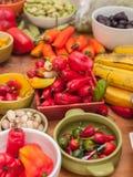 Surtido de pimientas peruanas del chile picante Fotografía de archivo