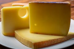 Surtido de quesos suizos emmental o de queso semiduro del emmental con los agujeros, el gruyere, el appenzeller redondo y el racl foto de archivo