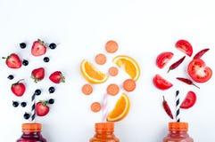Surtido de smoothies de la fruta y verdura fotografía de archivo libre de regalías