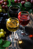 Surtido de vino en el fondo de madera, vertical, visión superior fotografía de archivo