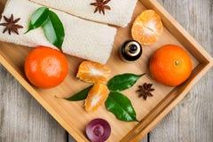 Surtido del balneario con aceite esencial de la mandarina orgánica Imagen de archivo libre de regalías