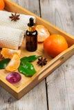 Surtido del balneario con aceite esencial de la mandarina orgánica Fotografía de archivo