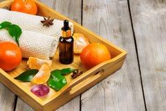 Surtido del balneario con aceite esencial de la mandarina orgánica Foto de archivo libre de regalías