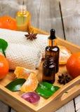 Surtido del balneario con aceite esencial de la mandarina orgánica Fotos de archivo libres de regalías