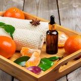 Surtido del balneario con aceite esencial de la mandarina orgánica Fotografía de archivo libre de regalías