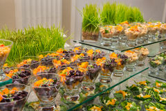 Surtido sano del aperitivo de la ensalada de fruta de la primavera en la comida fría del abastecimiento del evento Fotos de archivo