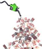 Surtidor de gasolina con los billetes de banco del yuan Fotos de archivo