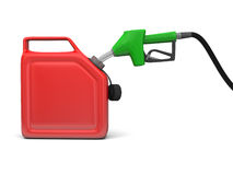 Surtidor de gasolina y poder jerry Imagenes de archivo