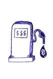 Surtidor y dólar de gasolina en el descenso líquido Foto de archivo