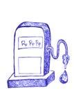 Surtidor y rupia de gasolina en el descenso líquido Imagenes de archivo