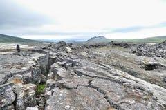 Surtshellir lawowy pole w Zachodnim Iceland zdjęcia stock
