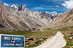 Suru valley and signpost Welcome to Zanskar valley Royalty Free Stock Photo