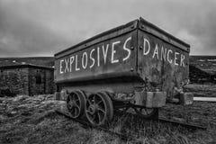 Survécue, chariot de mine, utilisé pour porter des explosifs aux mines de charbon de Gallois photographie stock