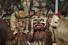 Surva dos máscaras Survakari Kukeri Imágenes de archivo libres de regalías