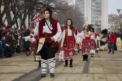 Surva Women Dance Parade Girls. Surva 2016, Pernik, Bulgaria Surva, the International Festival of Masquerade Games is the biggest event of this kind in Bulgaria Royalty Free Stock Photo