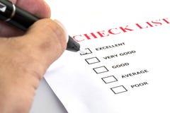 Survay Papier der Check-Liste Stockbild