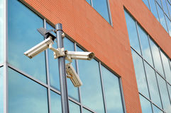 Surveillance. Cameras for video surveillance of buildings royalty free stock photo