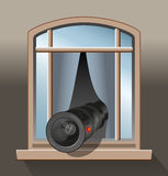 Surveillance Agent Camera. Surveillance - An agent, a spy or a voyeur is secretly observing with a camera out of a window. Vector illustration on grey gradient Royalty Free Stock Photography