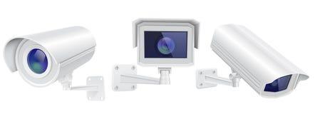 Surveillance autour de l'horloge Ensemble de dispositifs de surveillance illustration de vecteur