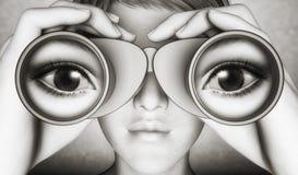 Surveillance with binoculars. Woman looking through pair of binoculars Stock Photo