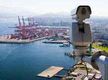 Surveillance camera. Is watching operation in the port stock image